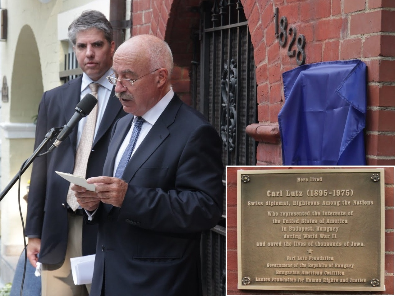 Dr. János Martonyi giving a speech at the Dedication of a Commemorative Plaque on Carl Lutz's Residence in Washington, DC on June 24, 2010