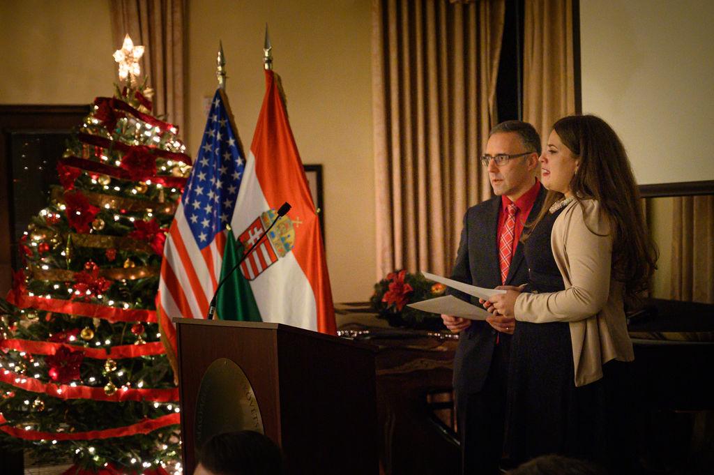 Dr. Endre Szentkirályi and Coalition Program Coordinator leading the Hungarian Christmas caroling