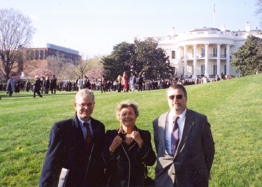 Mr. László Hámos, Mrs. Edith K. Lauer, Mr. Imre Lendvai-Lintner at the White House's Ceremony to welcome seven new members of NATO on March 29, 2004 in Washington, DC