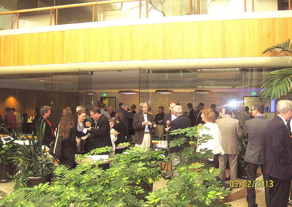 Conference break in the atrium of 2000 Alameda de las Pulgas, San Mateo, office location of the Honorary Consulate General of Hungary in San Francisco