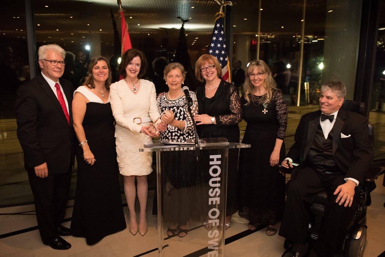 Award ceremony (from left to right):Mr. Stefan Fedor, Mrs. Andrea Lauer Rice, Ambassador April H. Foley, Mrs. Edith K. Lauer, Dr. Ágnes Virga, Mrs. Csilla Grauzer, Mr. Max Teleki