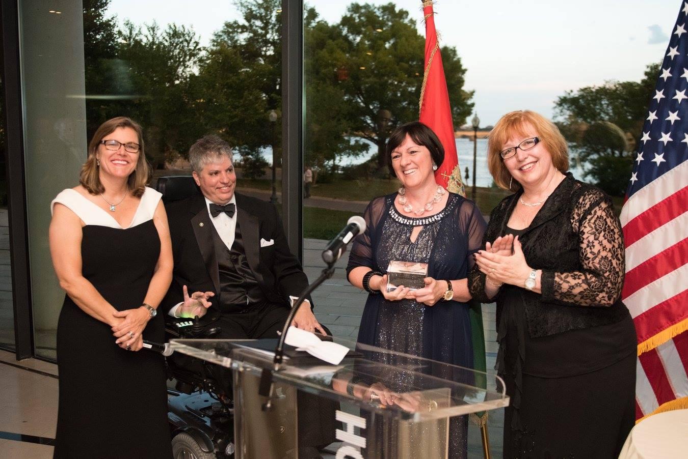 Mrs. Andrea Lauer Rice, Mr. Max Teleki, Ambassador Réka Szemerkényi, Dr. Ágnes Virga. Mrs. Lauer Rice together with Max Teleki and Ágnes Virga