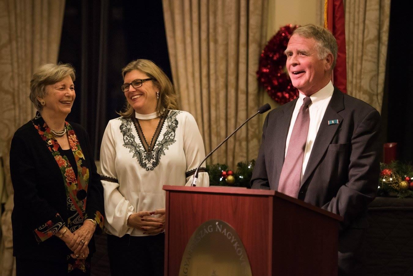 Coalition Chair Emerita Mrs. Edith K. Lauer and Coalition President Mrs. Andrea Lauer Rice recognizing Ambassador Thomas Robertson