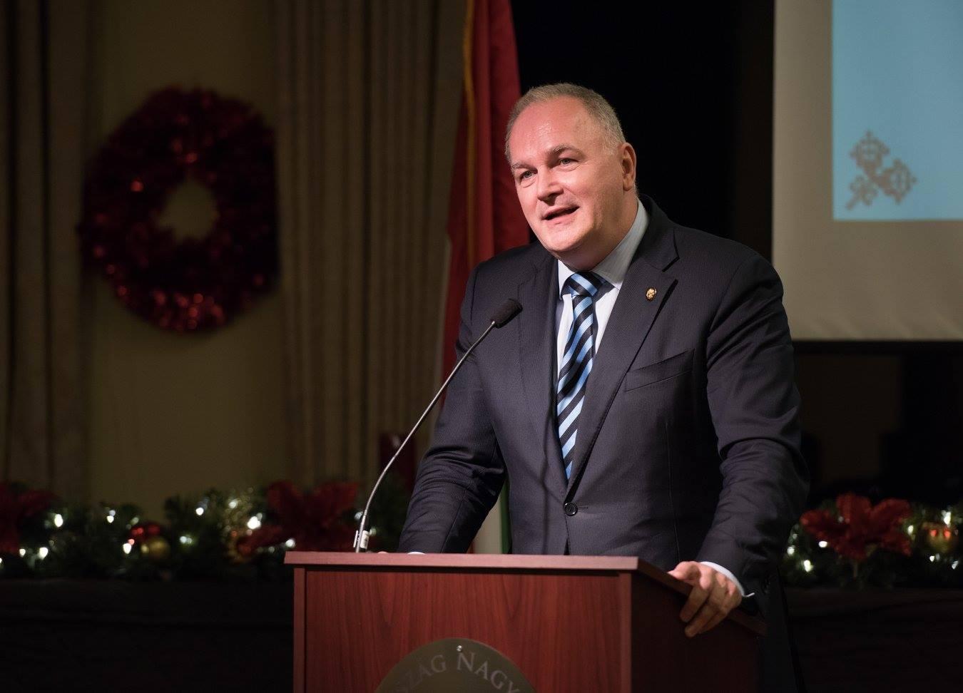 Ambassador Dr. László Szabó delivering his keynote remarks