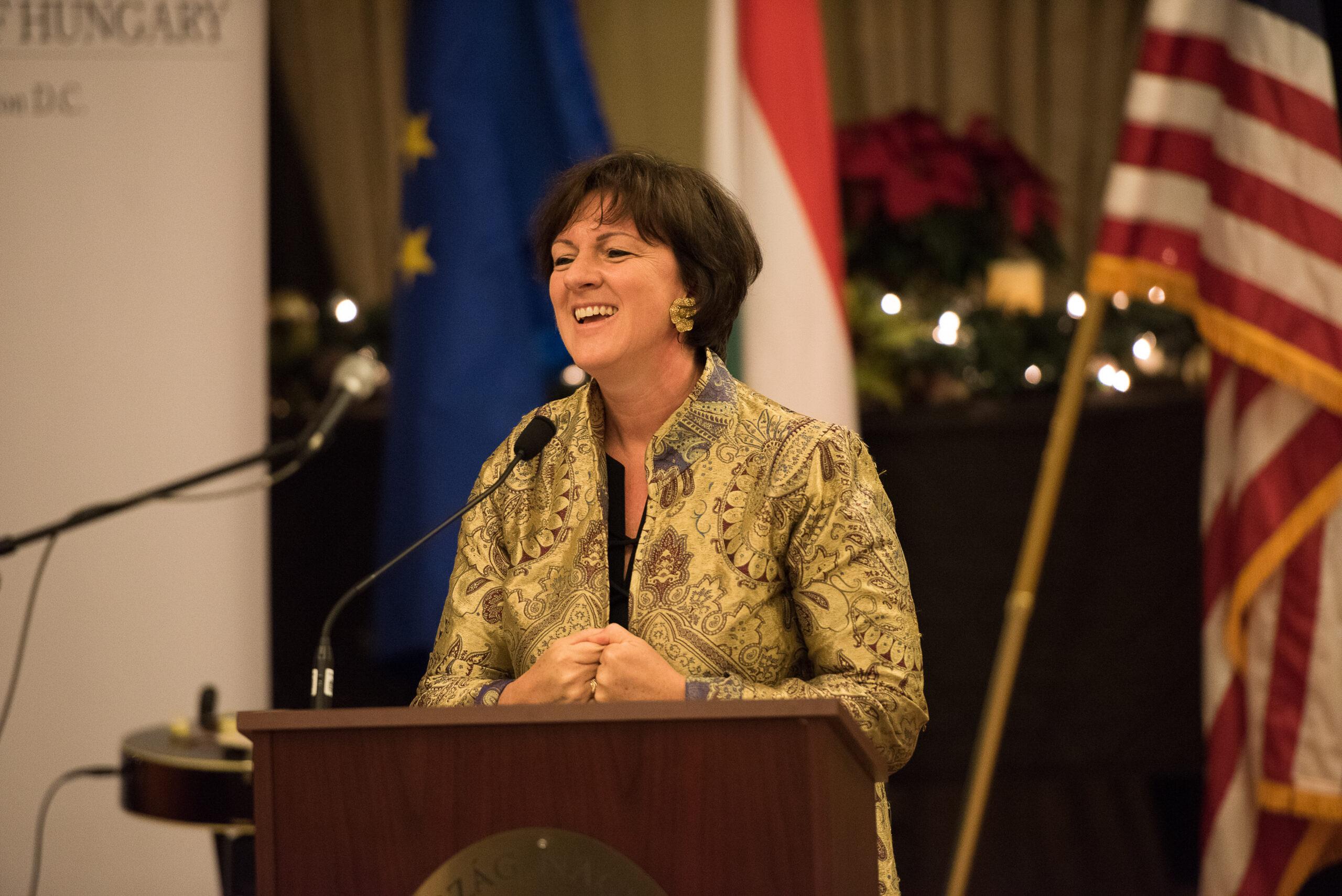 Ambassador Réka Szemerkényi delivering her welcoming remarks