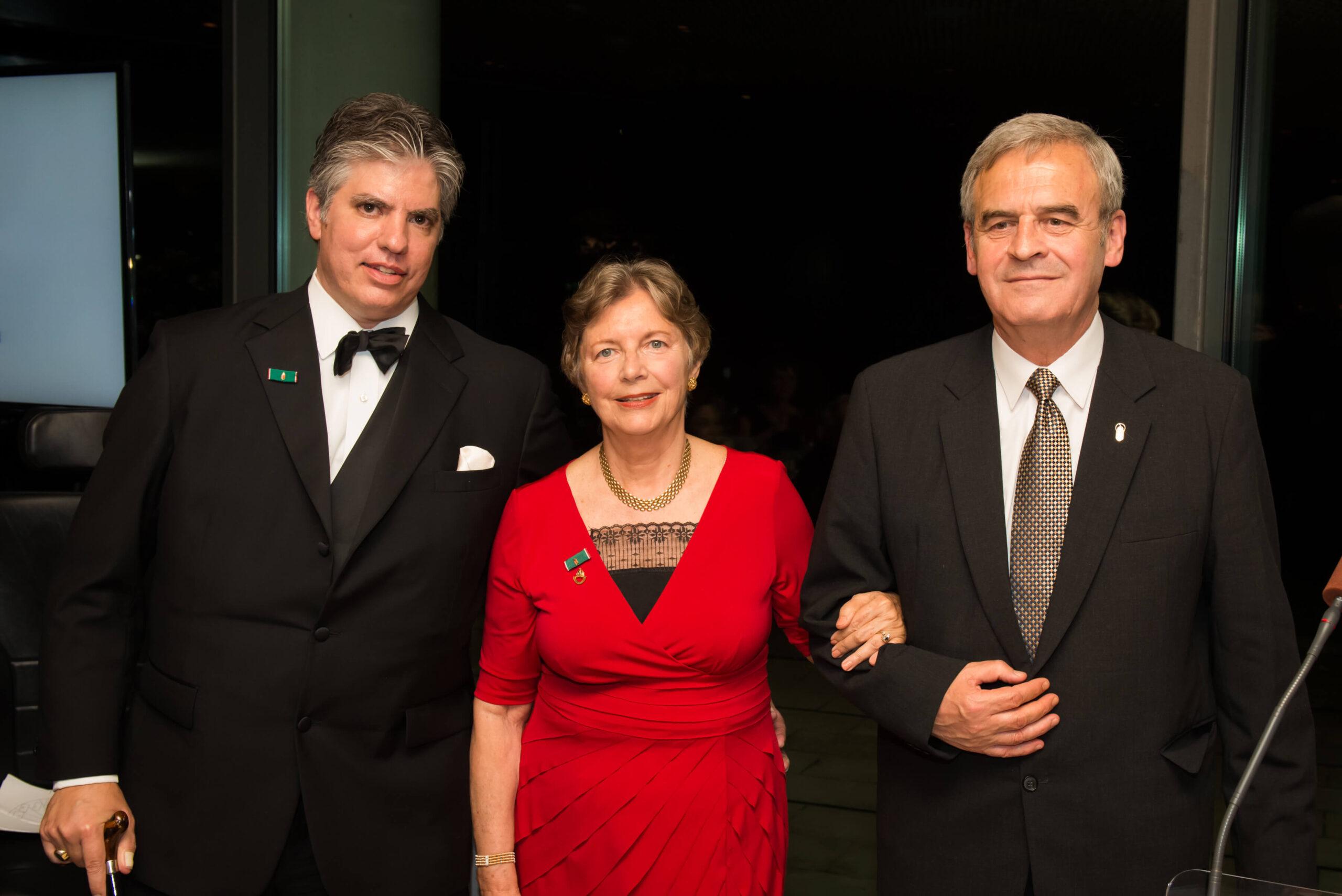 Mr. Max Teleki, Mrs. Edith K. Lauer and Bishop László Tőkés