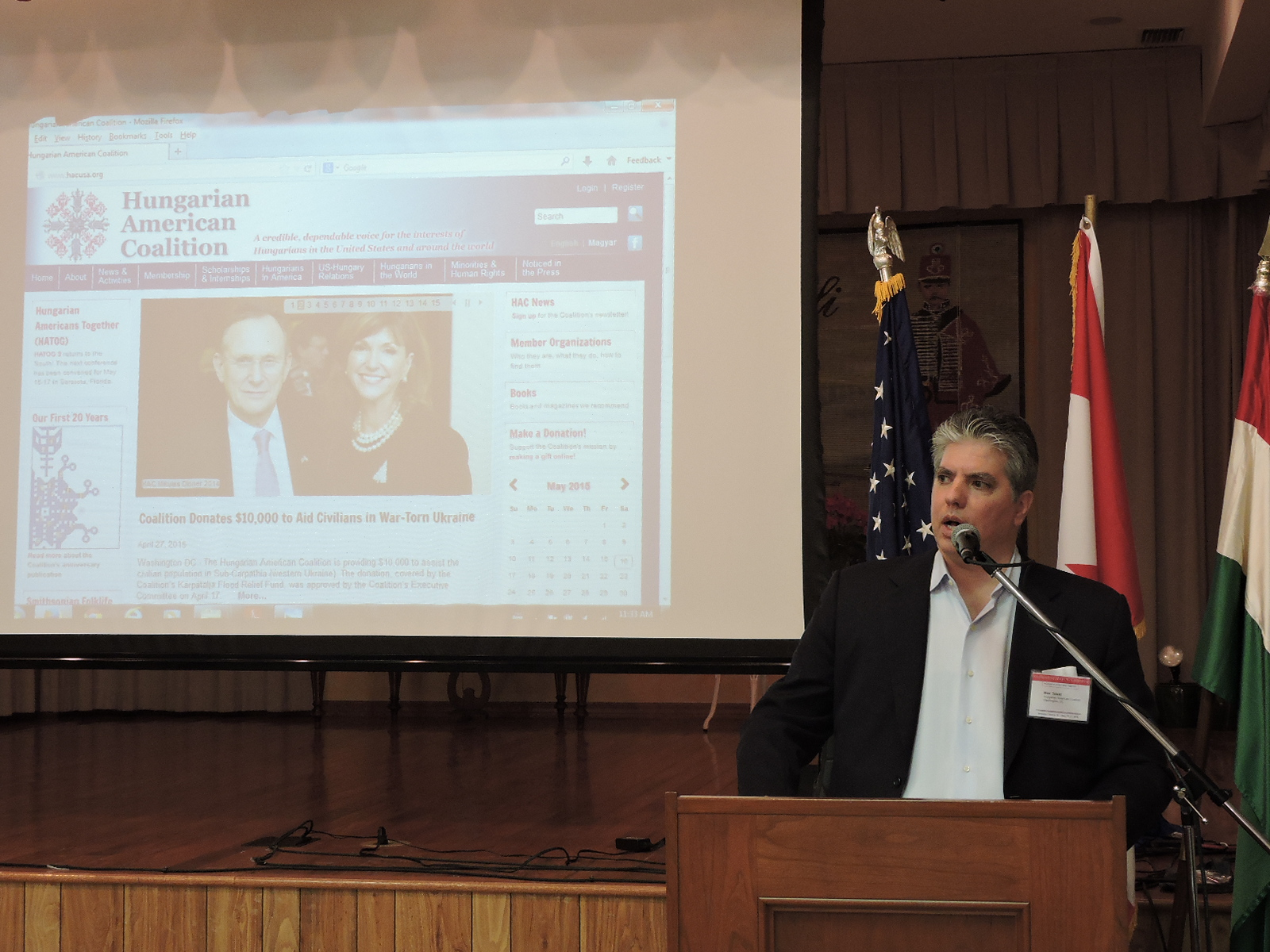 Mr. Maximilian N. Teleki presenting the work of the Hungarian american Coalition to HATOG participants