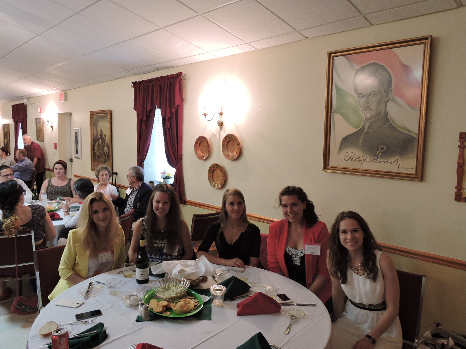 Ms. Faye Gillespie from Boston, MA and Coalition interns Ms. Veronika Tóth, Ms. Anett Matkó, Ms. Zsófia Anna Tábori and Ms. Enikő Horváth
