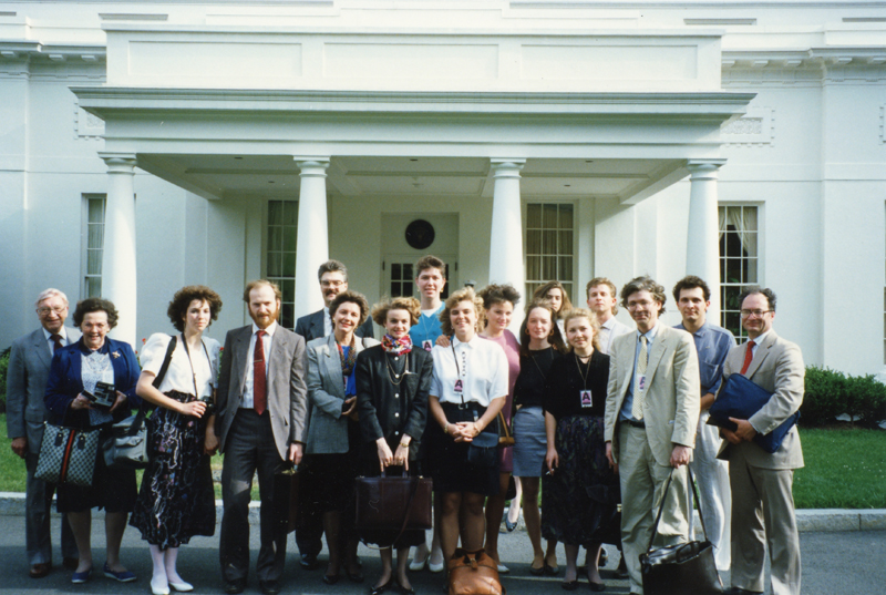 Human Rights Workshop attendees in front of the White House - 1995