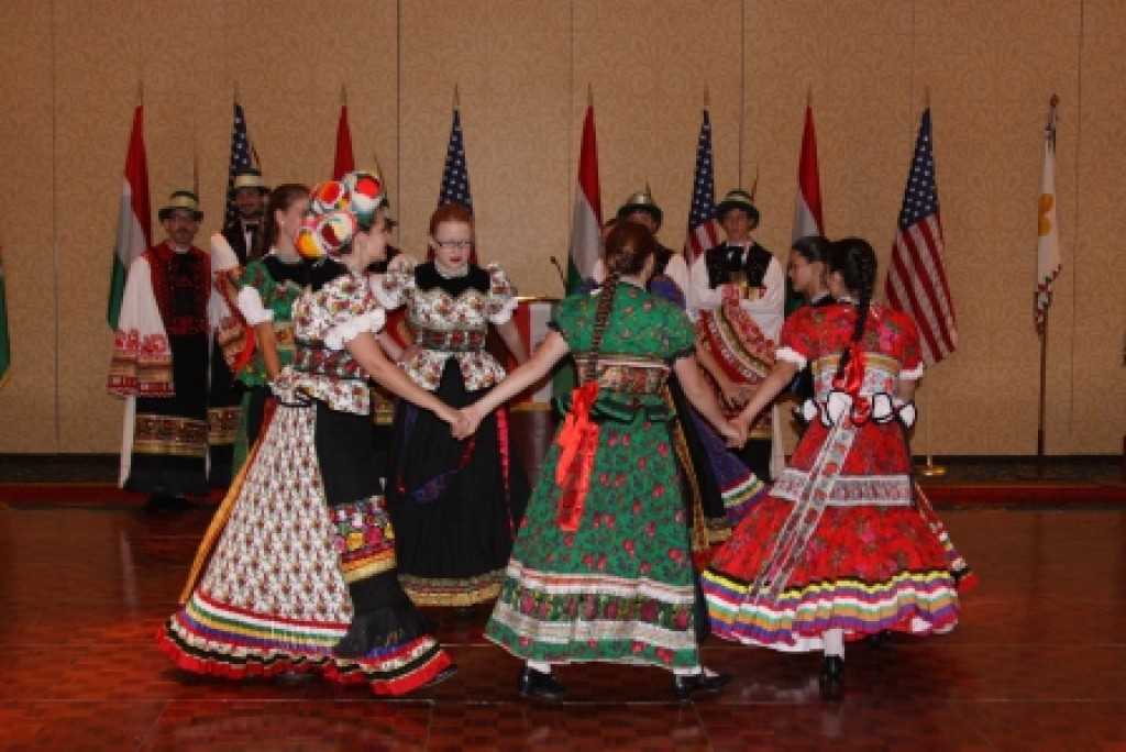 Hungarian Matyó Folk Dance performed by the Cleveland Hungarian Scout Folk Ensemble during the presidential luncheon at the Marriott Hotel Photo: Office of the President of the Republic of Hungary