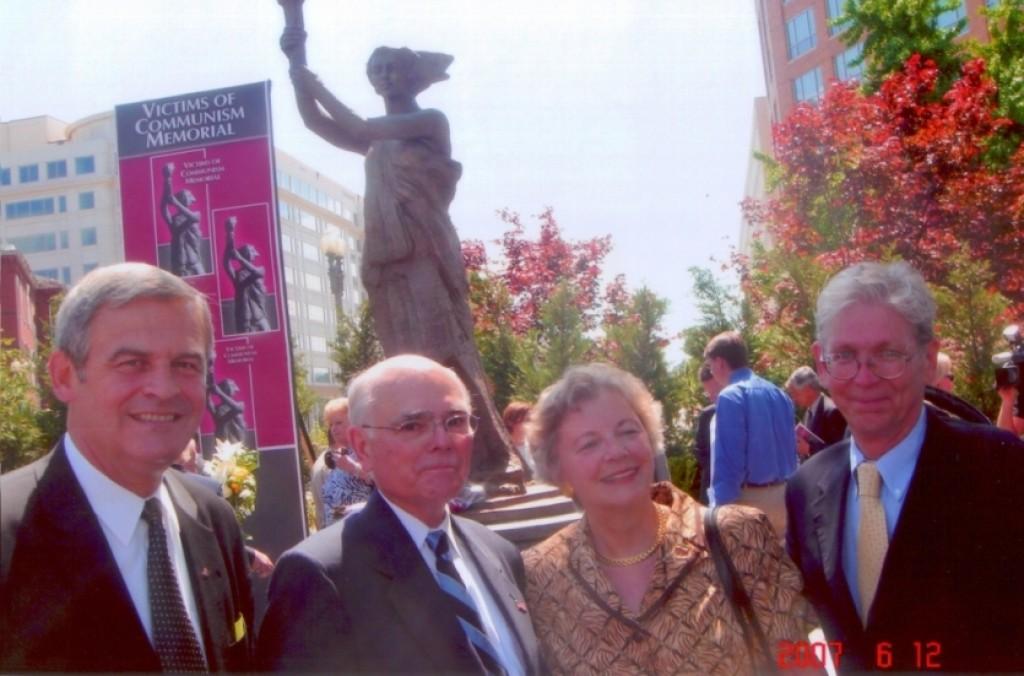 Bishop Laszlo Tokes, Dr. Lee Edwards, Mrs. Edith K. Lauer, Chairman Emerita of HAC, and Mr. Laszlo Hamos, President of HHRF