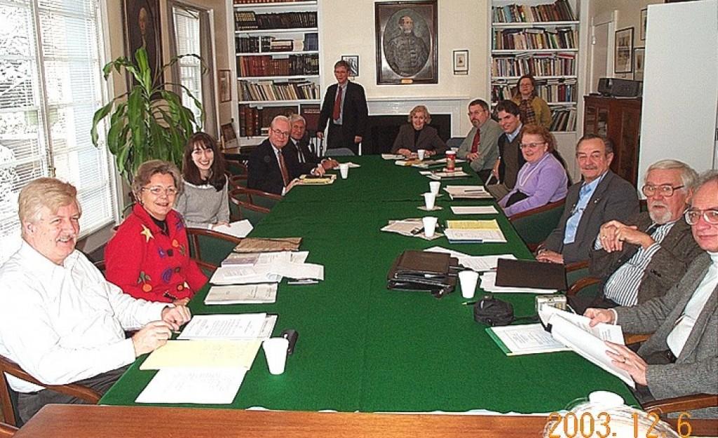 Annual Meeting Mr. Peter Soltész, Mrs. Edith K. Lauer, Ms. Christina Stacey, Mr. Zoltán Bagdy, Rev. Stefan M. Török, Mr. László Hámos, Mrs. Eva E. Voisin, Mr. Imre Lendvai-Lintner, Mr. Maximilian Teleki, Mrs. Helen M. Szablya, Mr. László Fülöp, Mr. László Böjtös, Mr. Andrew Ludányi, and in the back Ms. Emese Latkoczy