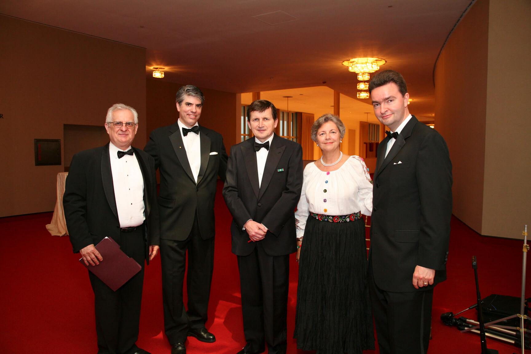 Mr. Zsolt Szekeres HAC Treasurer, Mr. Maximilian Teleki, Dr. Charles Simonyi, Mrs. Edith Lauer HAC Chair Emerita, and Ambassador Georg von Habsburg