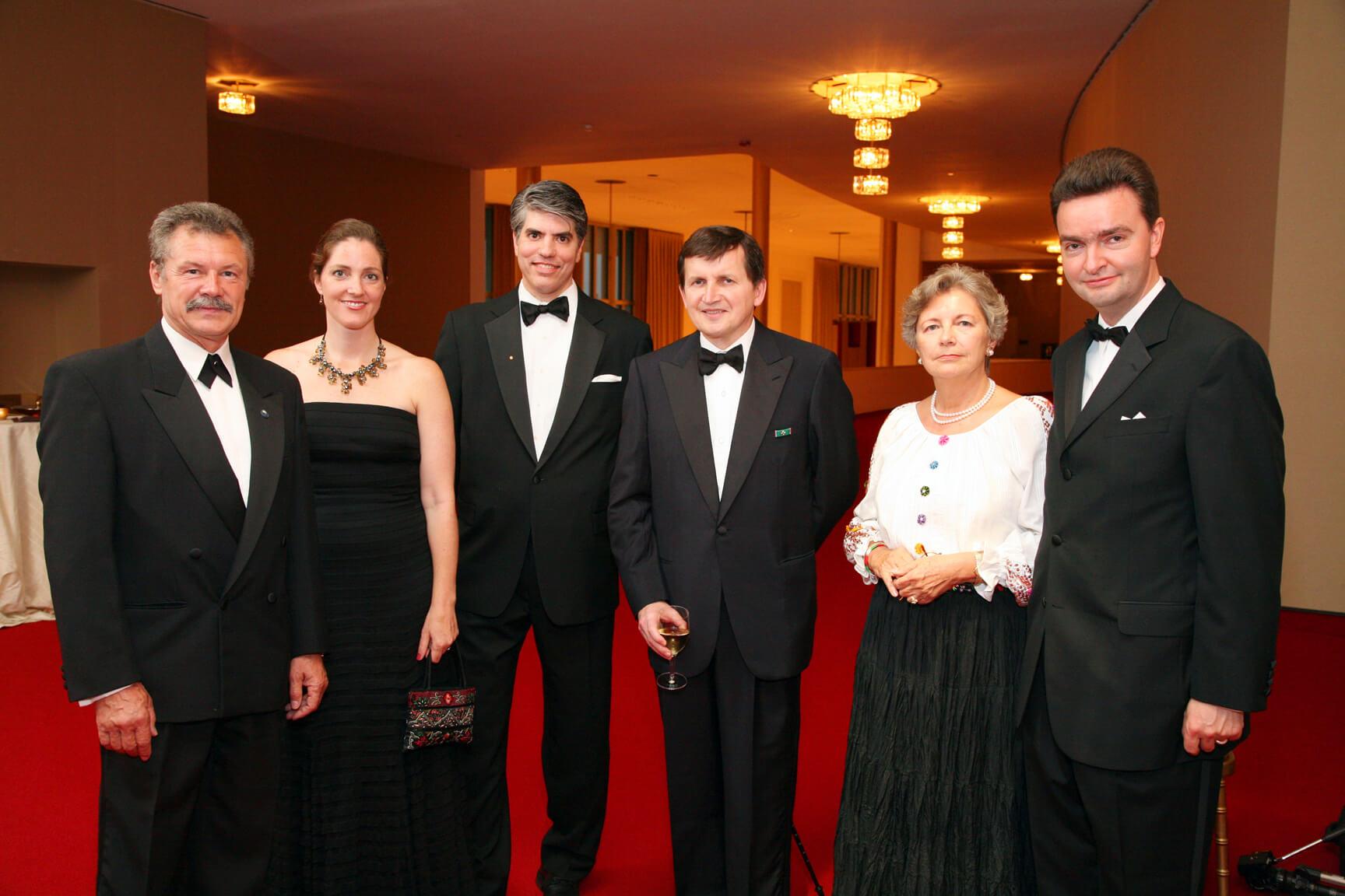 Mr. Bertalan Farkas, Mrs. Wendy Jagerson Teleki, Mr. Maximilian Teleki, and Dr. Charles Simonyi, Mrs. Edith Lauer HAC Chair Emerita, and Ambassador Georg von Habsburg