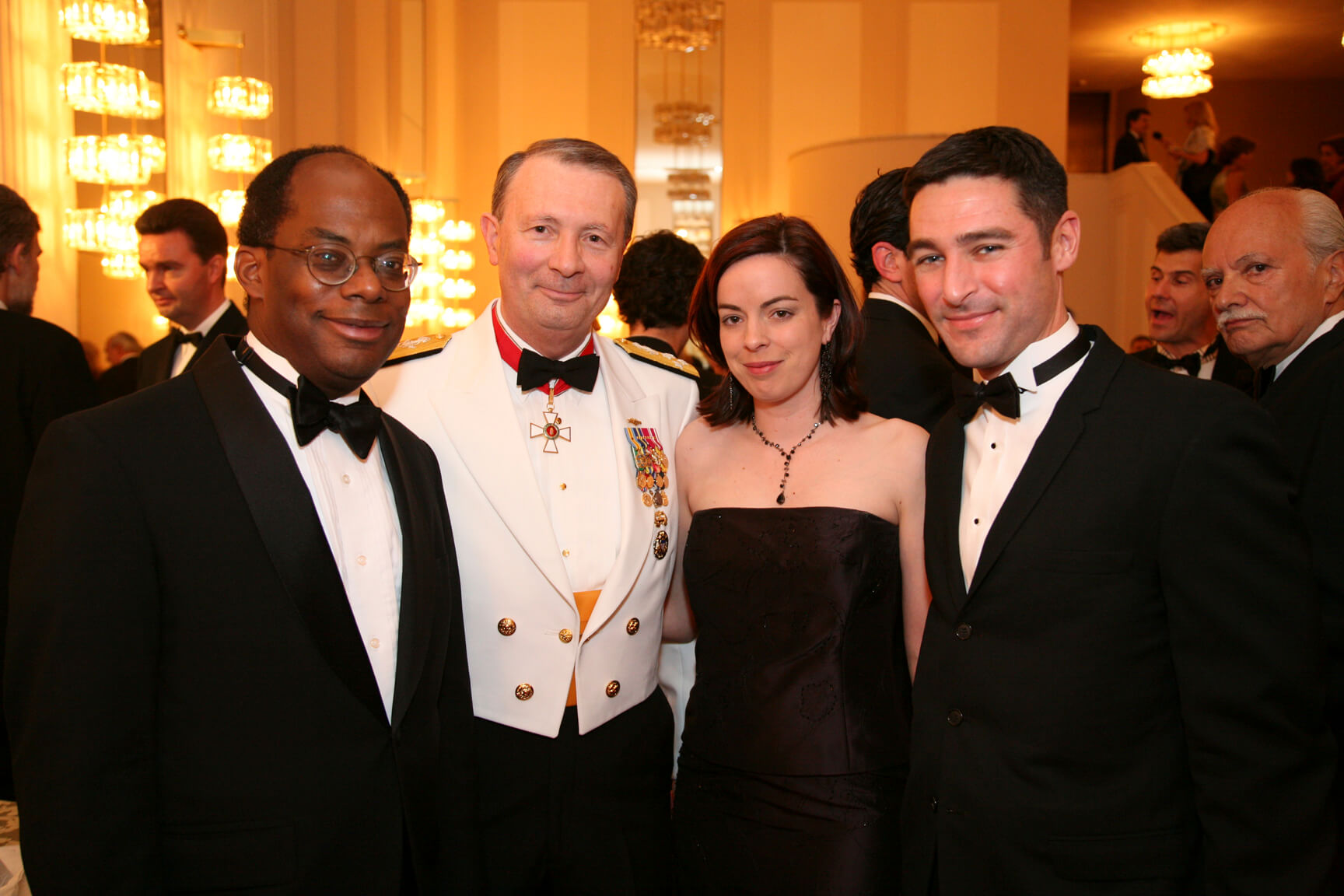 Honorable Roger Ferguson former Vice-Chairman of the Board of Governors of the Federal Reserve; Admiral Edmund P. Giambastiani Vice Chairman Joint Chiefs of Staff; White House Aide, Ms. Laura Hall, and Damon Wilson, Director for East, Central and Northern Europe, National Security Council
