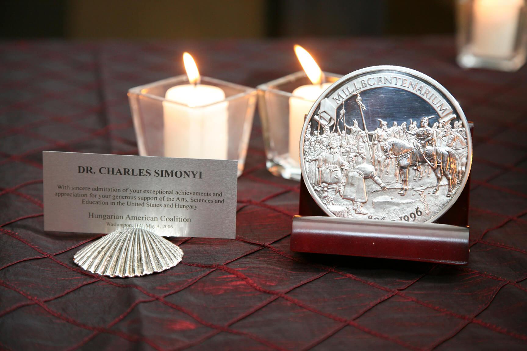 Silver medallion presented to Dr. Charles Simonyi