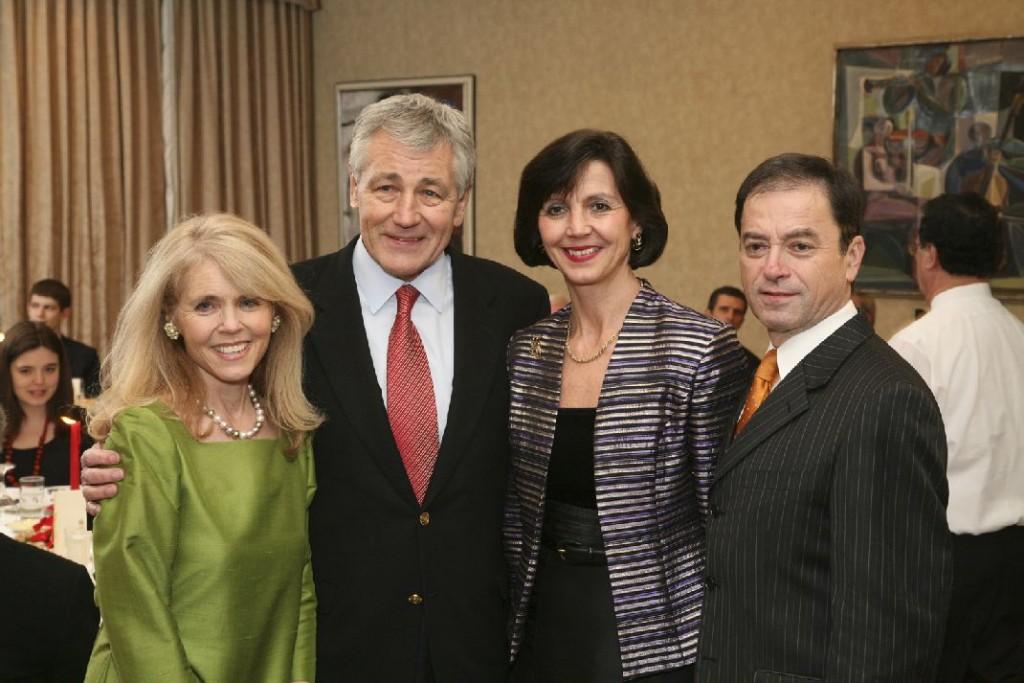 Mrs. Annette Tilleman Dick, Senator Chuck Hagel, Mrs. Nada Simonyi, Ambassador András Simonyi