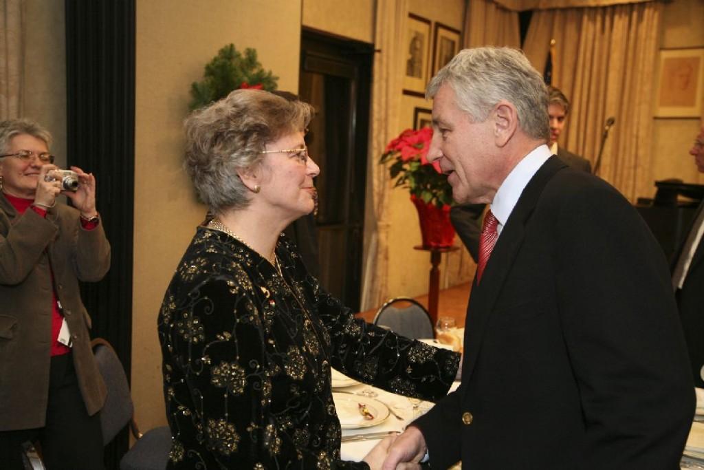 Mrs. Edith K. Lauer, Senator Chuck Hagel