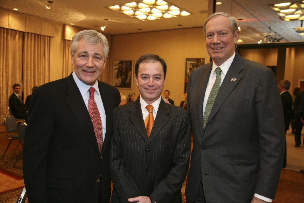 Senator Chuck Hagel, Ambassador András Simonyi, Governor George Pataki