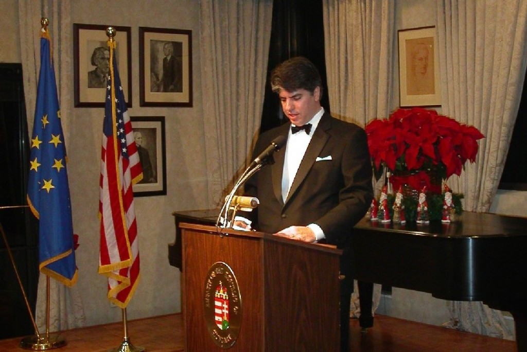 Mr. Maximilian Teleki, Master of Ceremonies greeting the guests